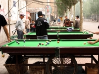 Hohhot - the capital, playing billiards in Mongolia Street